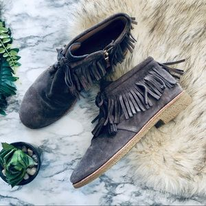 Kate Spade Charcoal Bitsy Fringe Booties (9.5)